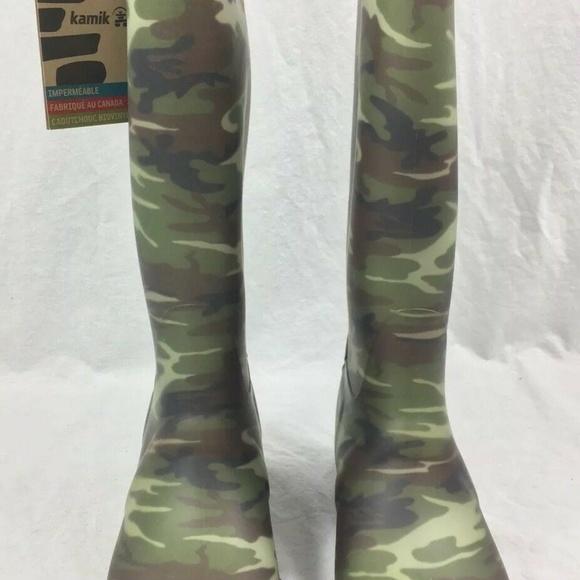 Camo NEW in Box Kamik Women/'s Squad Rubber Rain Boots SIZE 8 Waterproof